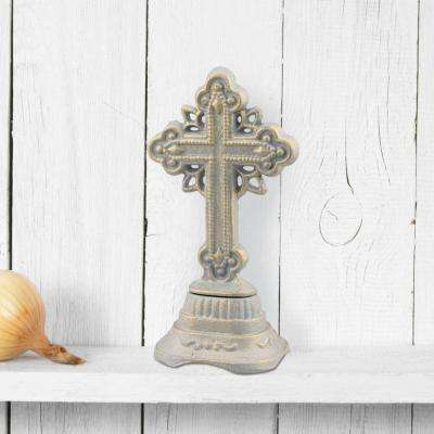 3.5 in. x 6.5 in. Patina Cast Iron Ornate Cross