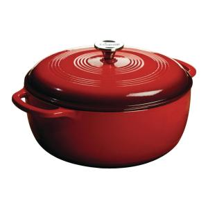 7.5 Qt. Round Enamel Cast Iron Dutch Oven in Red