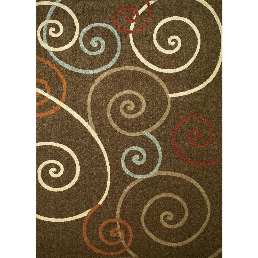 Chester Scroll Brown 3 ft. 3 in. x 4 ft. 7