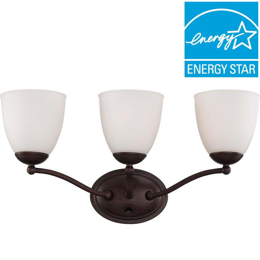 Glomar 3-Light Prairie Bronze Vanity Fixture with Frosted Glass Shade