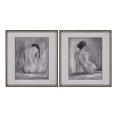 "27 in. x 25 in. ""Figure In Black And White"" Framed Printed Giclee under Glass Wall Art (Set of 2)"