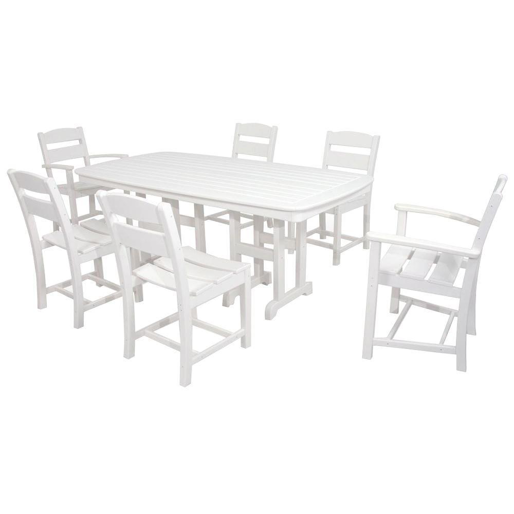 Classics White 7-Piece Plastic Outdoor Patio Dining Set