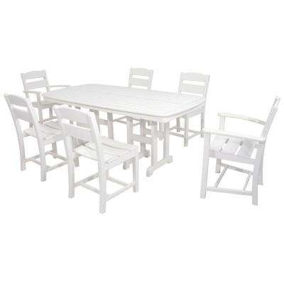 Classics White 7-Piece Plastic Outdoor Patio Dining Set