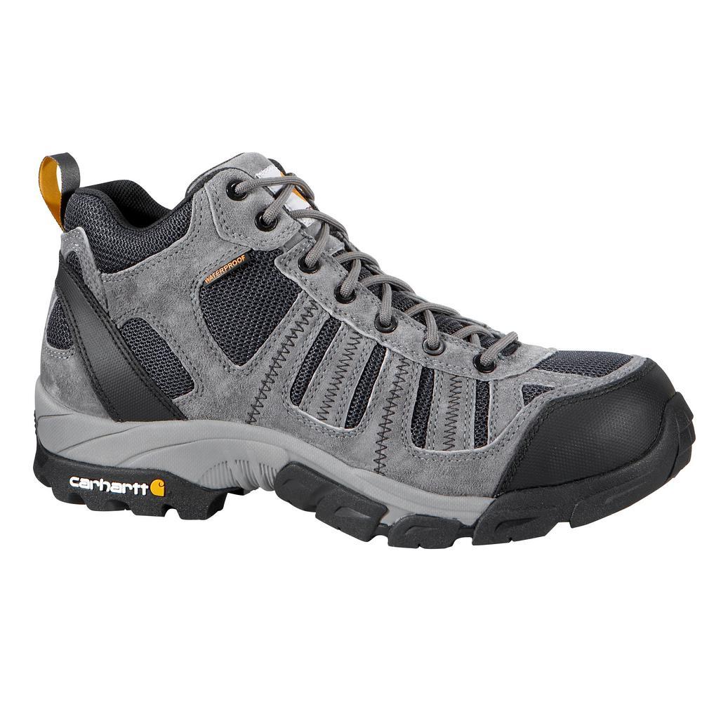 Carhartt Men's 09.5M Grey Split Leather and Blue Nylon Waterproof Soft Toe 4 in. Lightweight Work Hiker