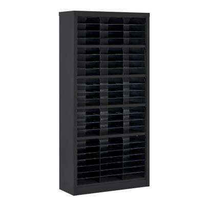 72 in. H x 34.5 in. W x 13 in. D Steel Commercial Literature Organizer Shelving Unit in Black