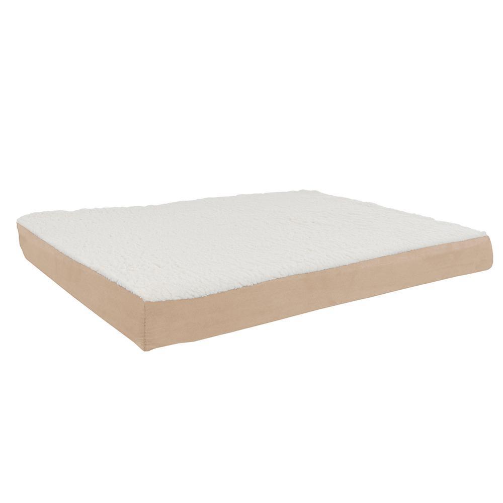 Large Tan Orthopedic Sherpa Pet Bed