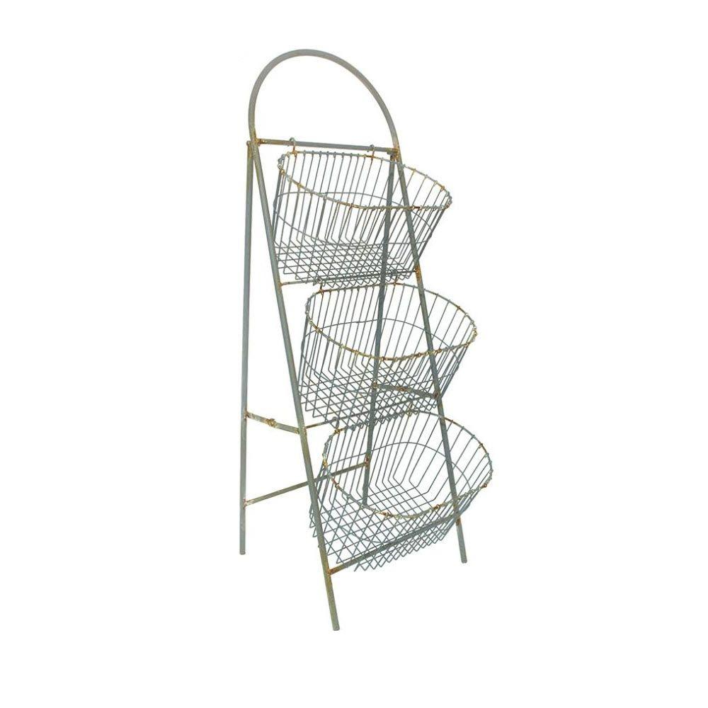 Home Decorators Collection Whitney 3-Tier 45.5 in. H Light Grey Storage Basket