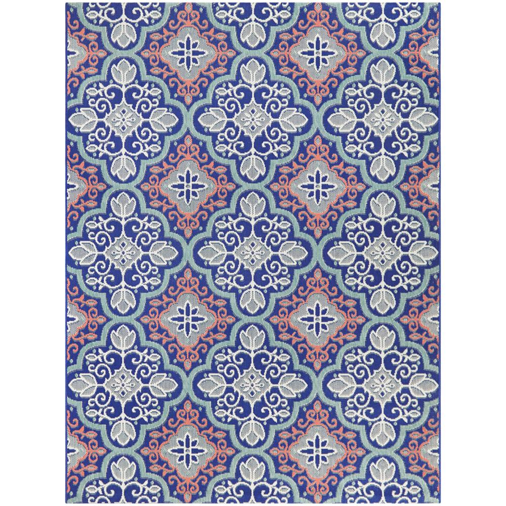 hamptonbay Hampton Bay Star Moroccan Navy/Coral 5 ft. x 7 ft Floral Indoor/Outdoor Area Rug, Navy Coral