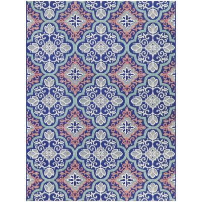 Star Moroccan Navy/Coral 8 ft. x 10 ft. Floral Indoor/Outdoor Area Rug