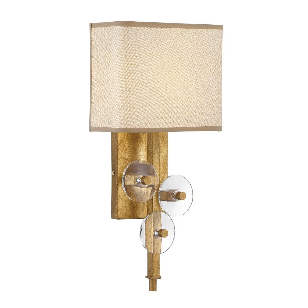 Varaluz Varaluz Engeared 1 Light Antiqued Gold Leaf Wall Sconce With Gold Fabric Shade 612260 The Home Depot
