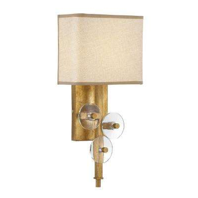 Rogue Decor Engeared 1-Light Antiqued Gold Leaf Wall Sconce with Gold Fabric Shade  sc 1 st  The Home Depot & Yellow - Sconces - Lighting - The Home Depot