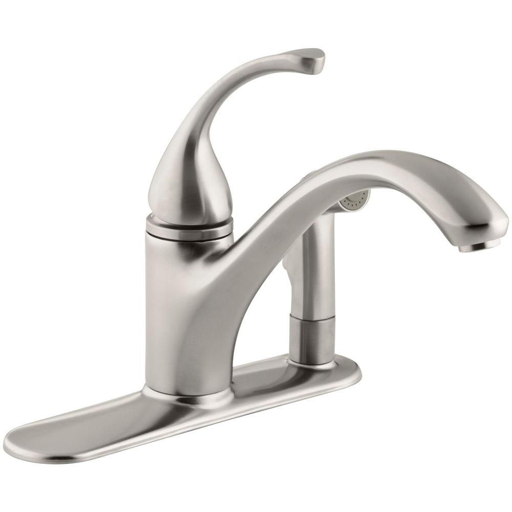 Forte Single-Handle Standard Kitchen Faucet with Side Sprayer in Vibrant