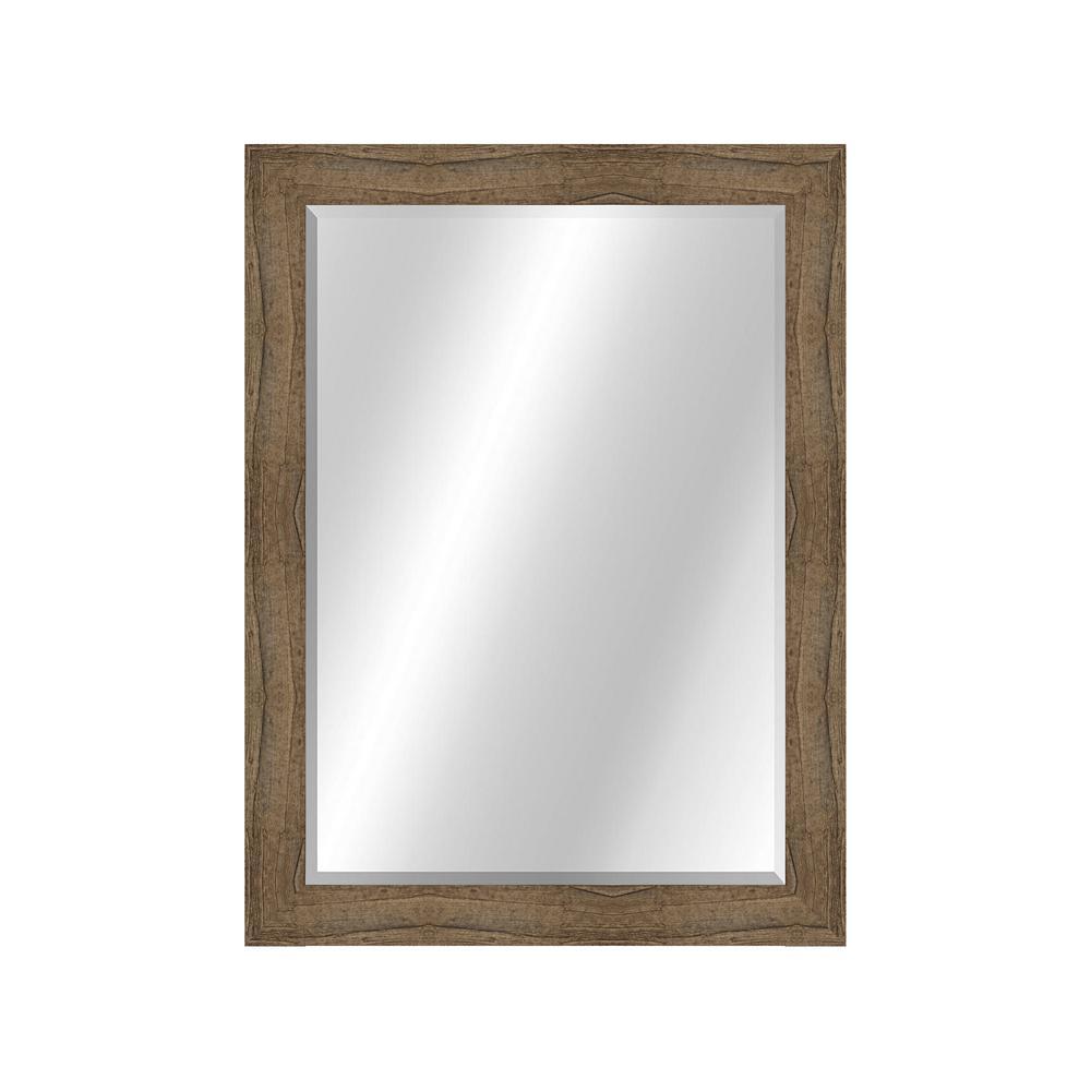 Rustic 22 x 28 Natural Wood Owl Brown Framed Vanity Mirror