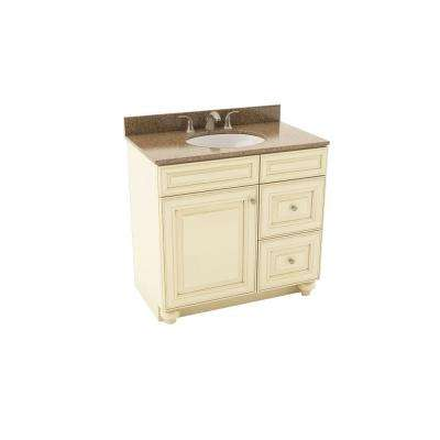 Savannah 37 in. Vanity in Hazelnut w/ Right Drawers and Silestone Quartz Vanity Top in Sienna Ridge and Oval White Sink