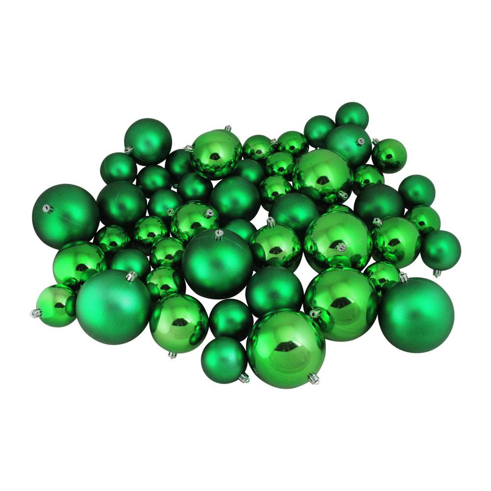 Northlight Xmas Green Shiny And Matte Shatterproof Christmas Ball Ornaments 50 Count