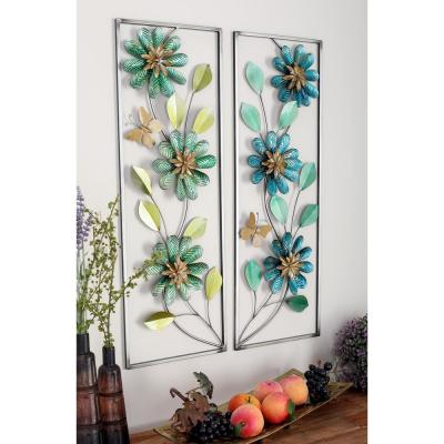 35 in. x 12 in. Ribbed Metal Flower and Leaf Wall Decors (2-Piece)