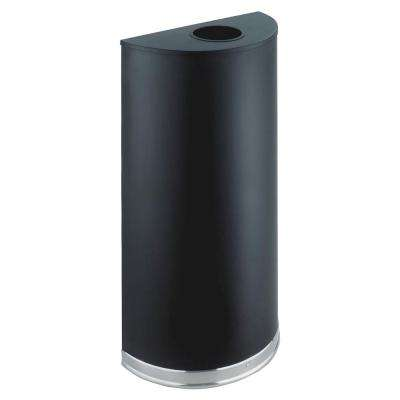 12.5 Gal. Matte Black Half-Round Open Top Trash Can