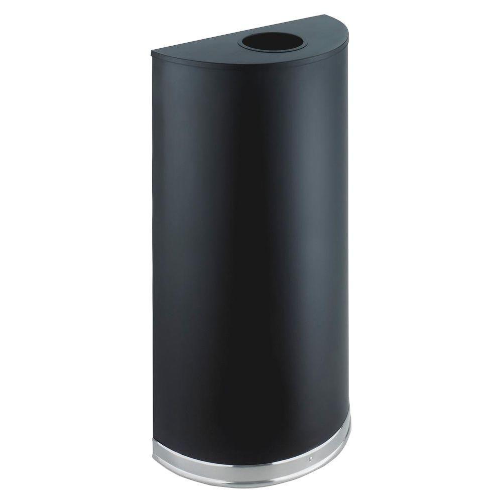 12.5 Gal. Matte Black Half-Round Open Top Trash Can