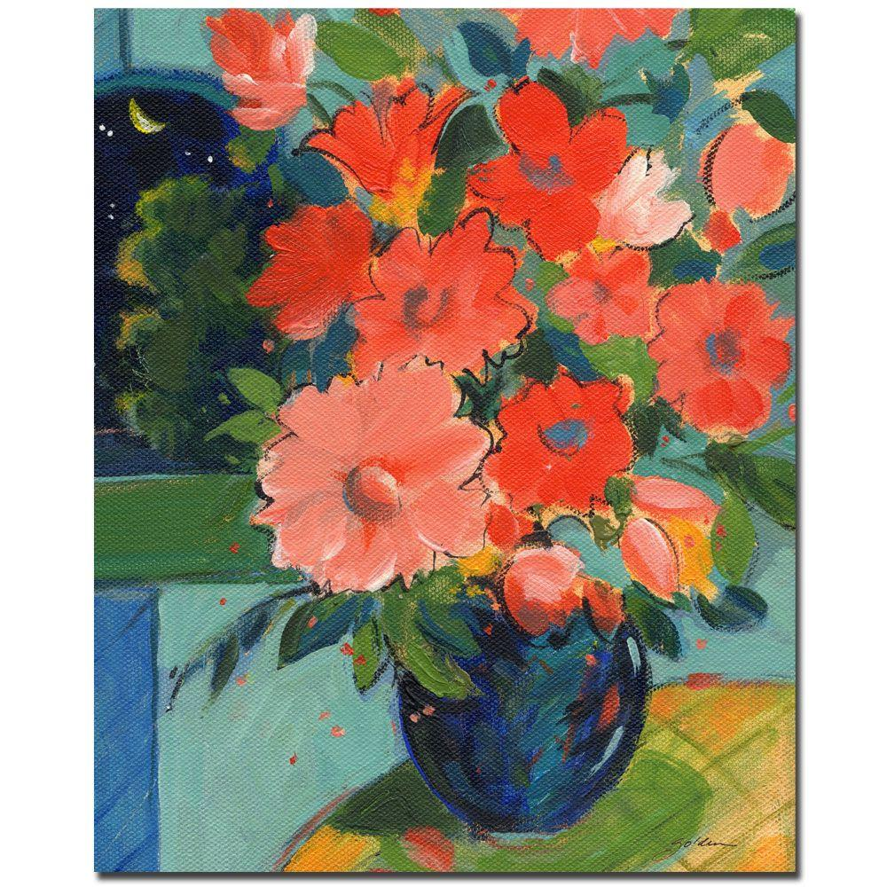 Trademark Fine Art 26 in. x 32 in. Red Flowers on the Yellow Table Canvas Art