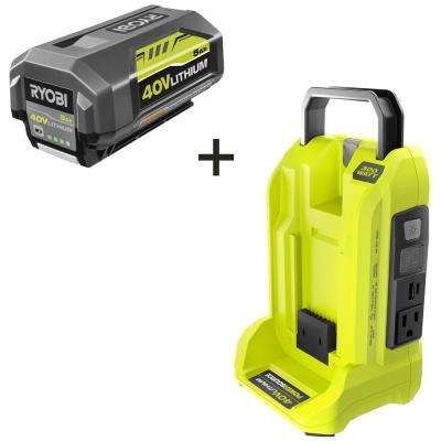 300-Watt Powered Inverter for 40-Volt Battery with 5.0 Ah Battery Included