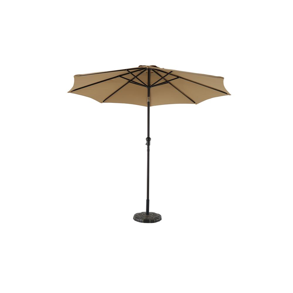 Hampton Bay 9 Ft Steel Crank And Tilt Patio Umbrella In Cafe