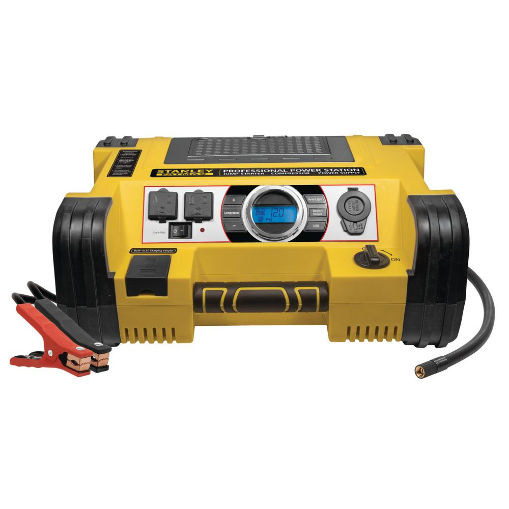 Stanley Professional Power Station: 1400 Peak/700 Instant Amp, 500-Watt Inverter, 120 PSI Air Compressor
