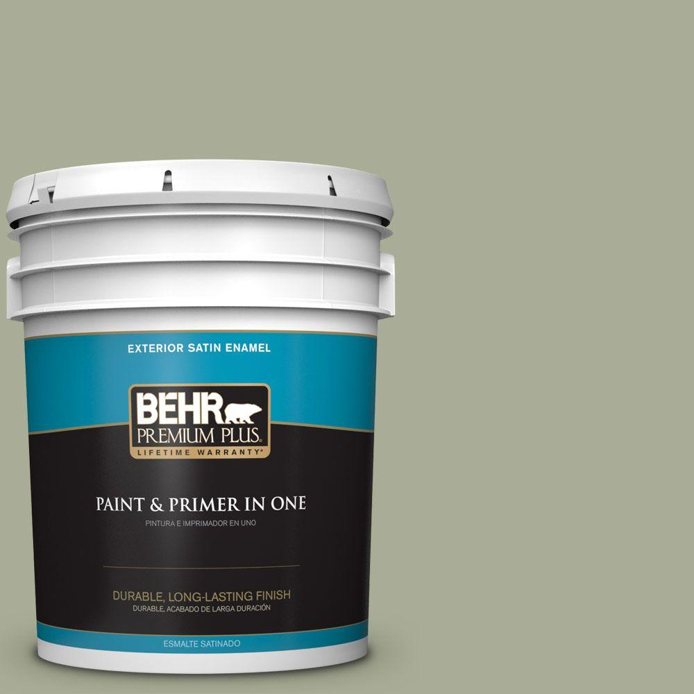 BEHR Premium Plus 5-gal. #S380-4 Bay Water Satin Enamel Exterior Paint