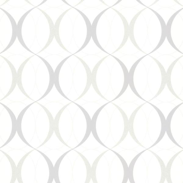 Circulate White Retro Orb Fabric Strippable Wallpaper (Covers 56.4 sq. ft.)