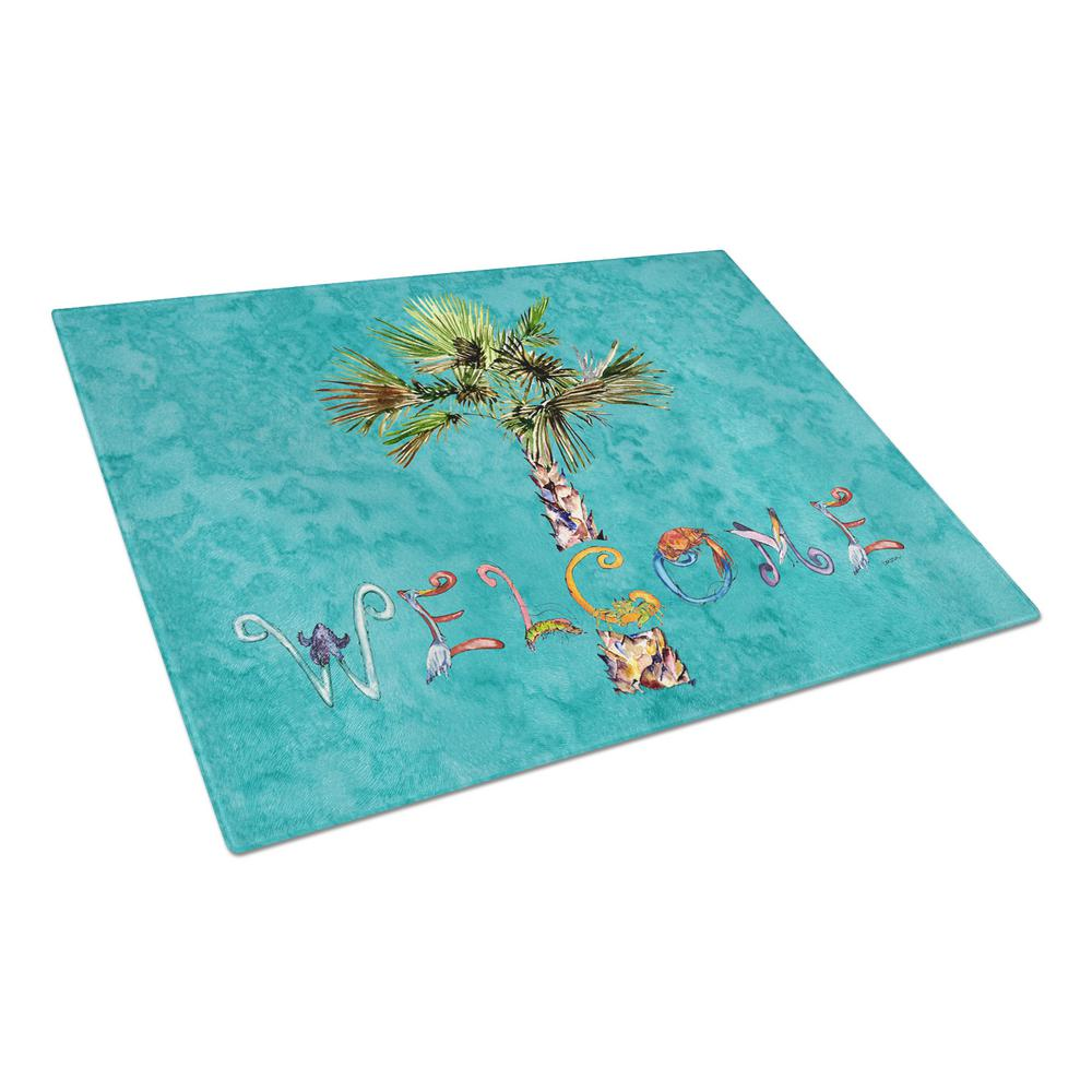 Caroline's Treasures Welcome Palm Tree On Teal Tempered