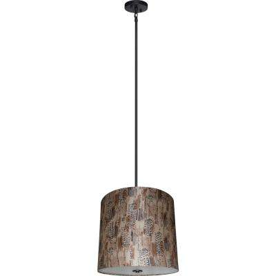 5-Light Ebony Bronze Chandelier with Scriptive Cinnamon Fabric Shade