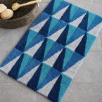 Angles Blue 21 in. x 34 in. Cotton Bath Rug