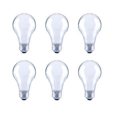 60-Watt Equivalent A19 Frosted Glass Vintage Decorative Edison Filament Dimmable LED Light Bulb Daylight (6-Pack)