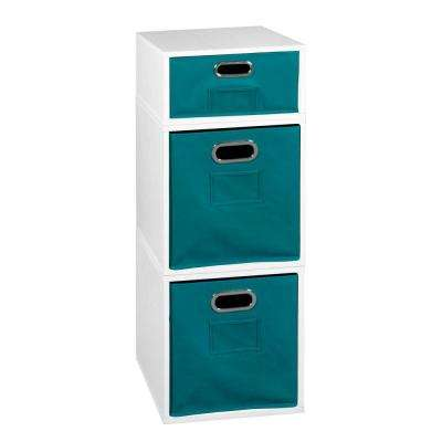 Cubo 13 in. x 32.5 in. White 2 Full-Cube and 1 Half-Cube Organizer with Teal Foldable Storage Bins