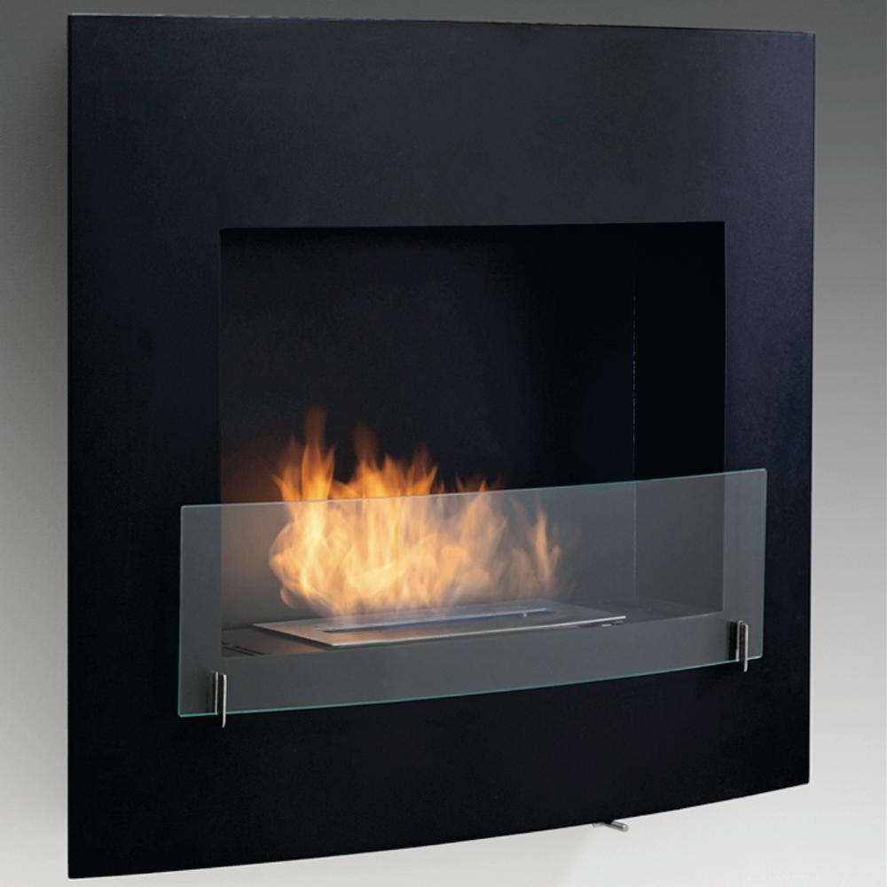 Wynn 35 in. Ethanol Wall Mounted Fireplace in Matte Black