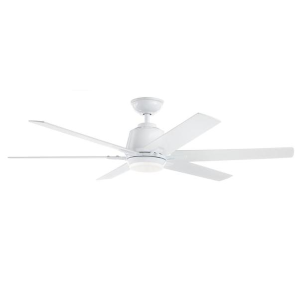 Home Decorators Collection Kensgrove 54 In Integrated Led Indoor White Ceiling Fan With Light Kit And Remote Control Yg493a Wh The Home Depot