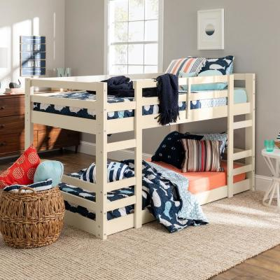 Solid Wood Traditional Twin Over Twin Low Bunk Bed - White