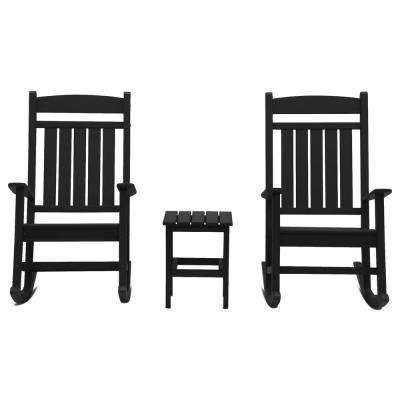Classic Rocker Black 3-Piece Plastic Outdoor Chat Set