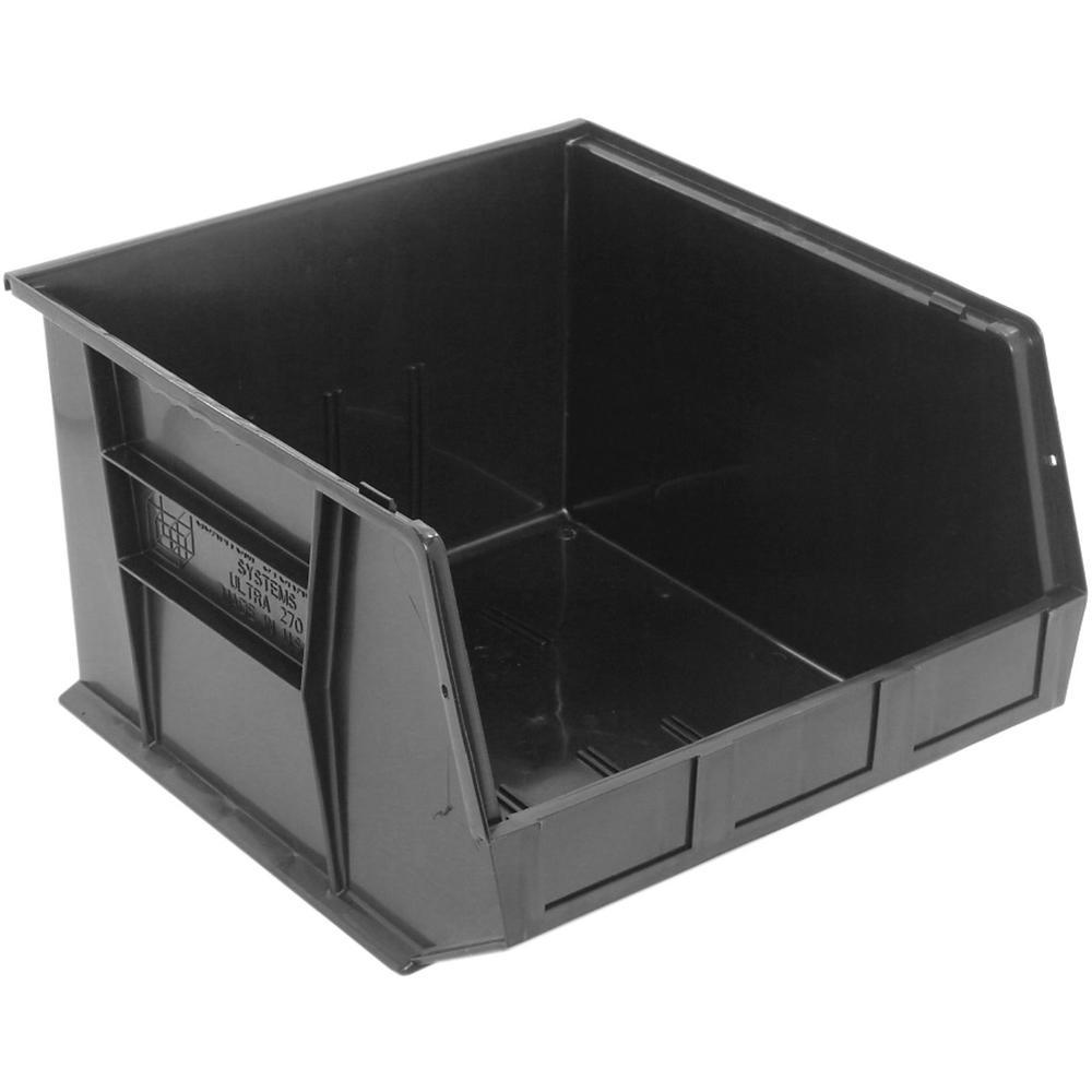 Ultra Series Stack and Hang 8.9 Gal. Storage Bin in Black (3-Pack)