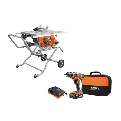 10 in. Pro Jobsite Table Saw with Stand and 18-Volt Cordless Drill/Driver Kit with (1) 2.0 Ah Battery, Charger, Tool Bag