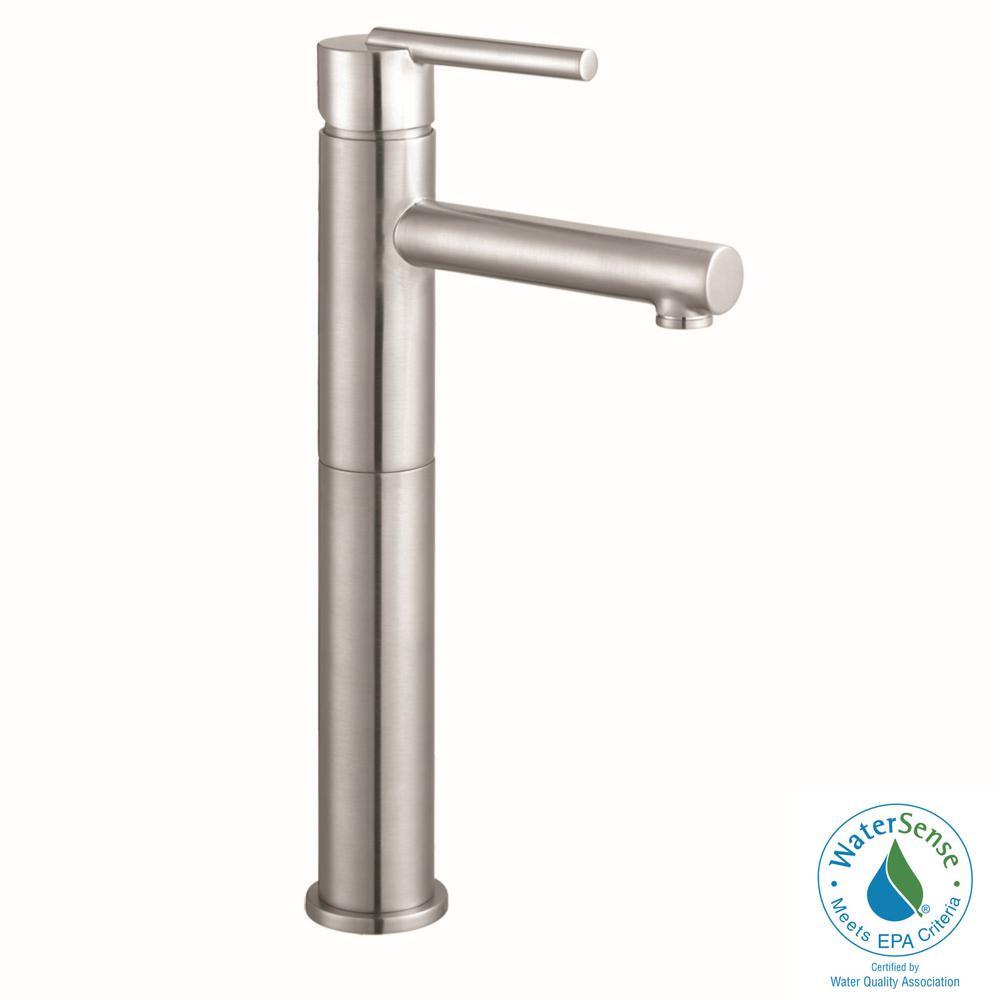 Geneva Single Hole Single-Handle Vessel Bathroom Faucet in Satin Nickel