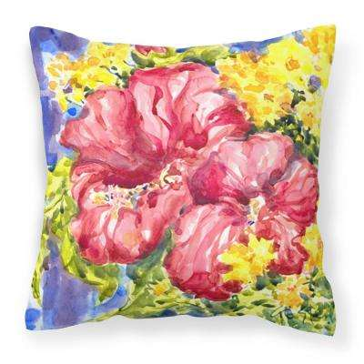 14 in. x 14 in. Multi-Color Lumbar Outdoor Throw Pillow Flower Hibiscus Decorative Canvas Fabric Pillow