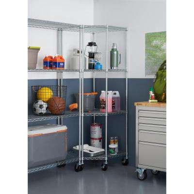 EcoStorage 4-Tier NSF Corner Wire Shelving Rack w/Wheels - Chrome