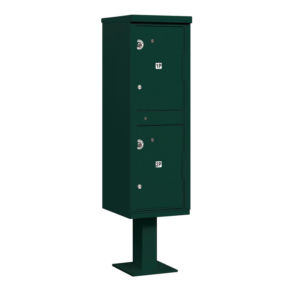 Salsbury Industries 3300 Series Private 2-Compartments Outdoor Parcel Locker in Green