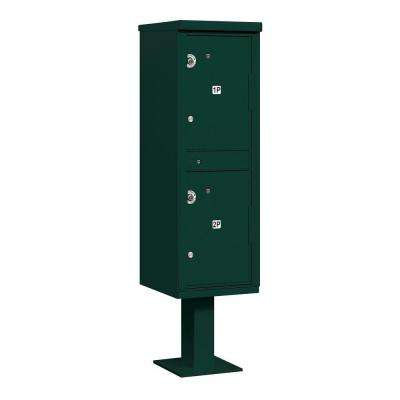 3300 Series Private 2-Compartments Outdoor Parcel Locker in Green