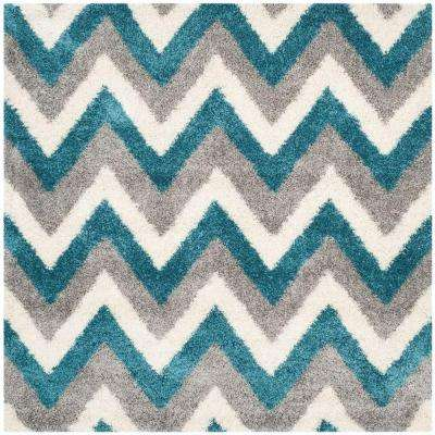 Kids Shag Ivory/Blue 6 ft. 7 in. x 6 ft. 7 in. Square Area Rug