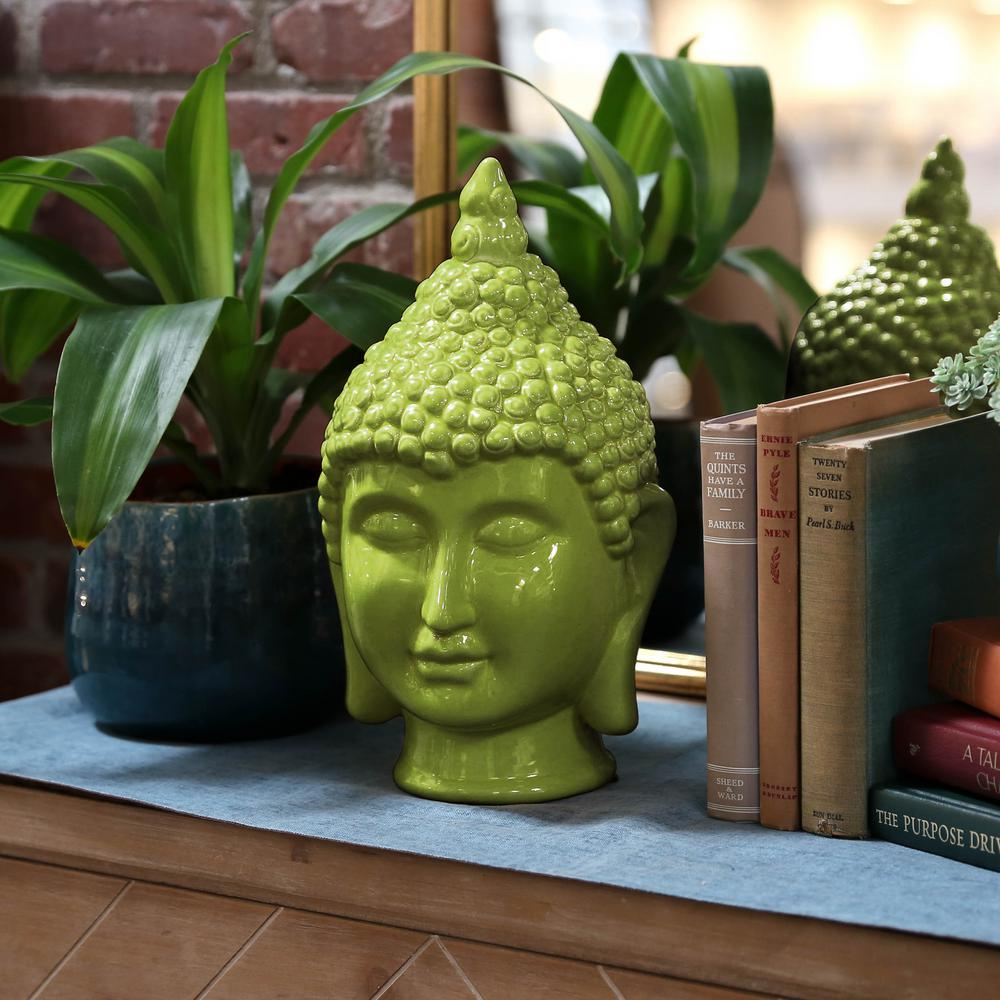 Urban Trends Collection 13 5 In H Buddha Decorative Sculpture In Green Gloss Finish 34438 The Home Depot