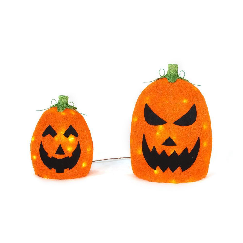 12 in. and 17 in. Warm White LED Orange Sisal Pumpkin Set