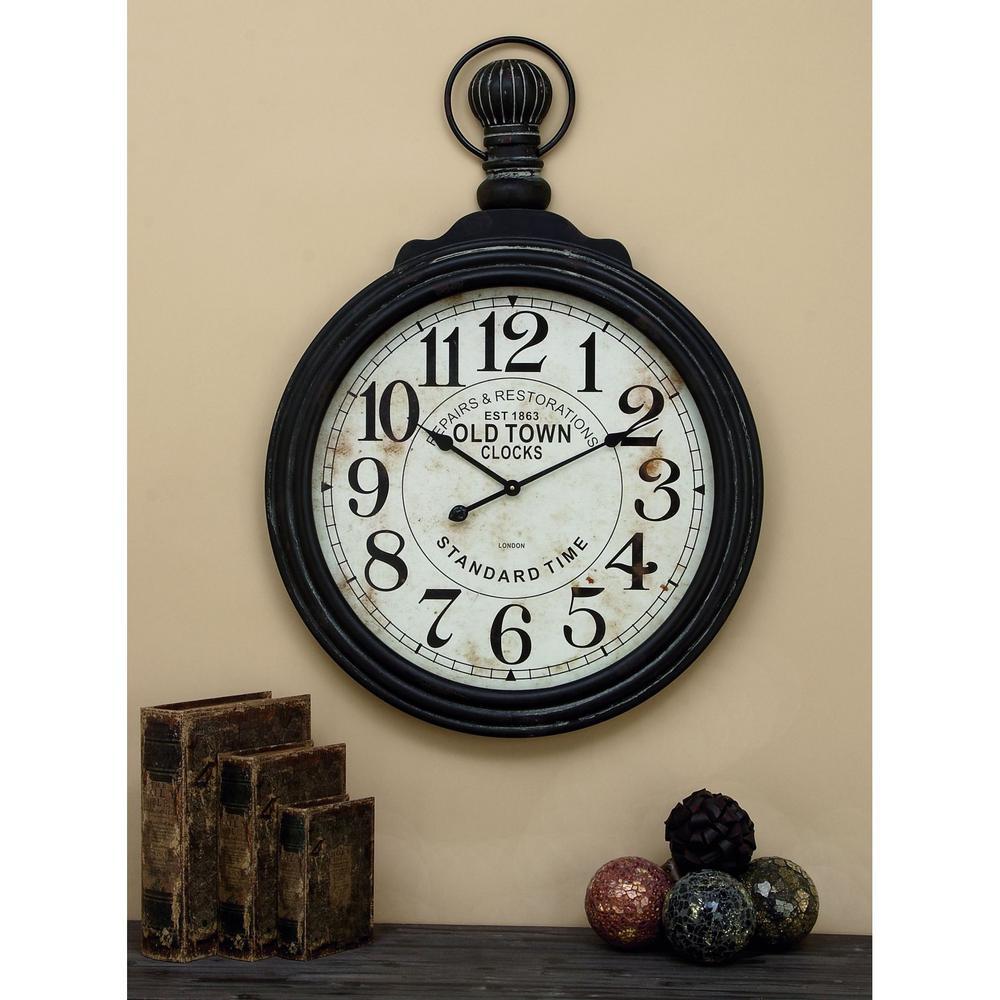 39 in. x 28 in. Wood Wall Clock