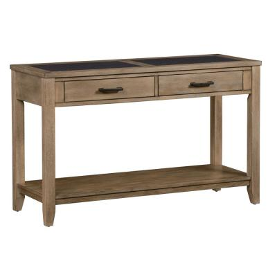 Sun Valley 48 in. Charcoal/Weathered Driftwood Standard Rectangle Wood Console Table with Drawers