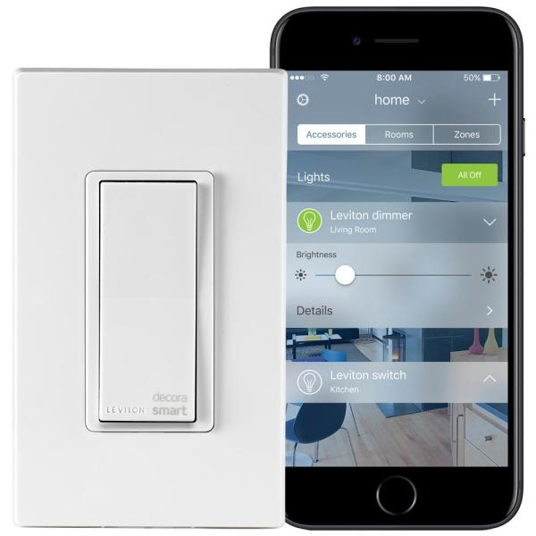 Leviton Decora Smart 15 Amp Light Switch Works With Apple Homekit Wallplate Included White R02 Dh15s 2rw The Home Depot
